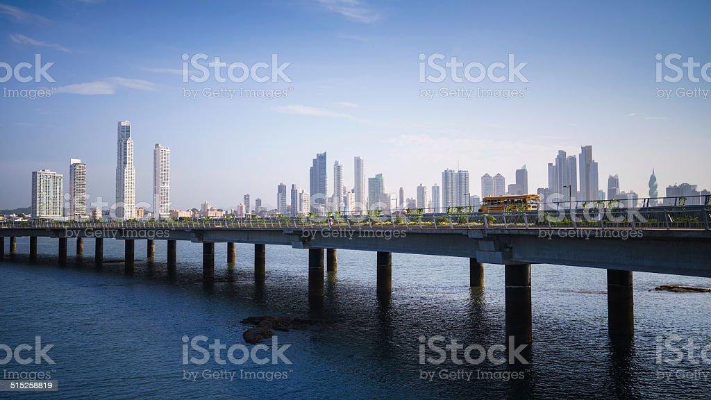 Panorama panama city skyline building car stock photo