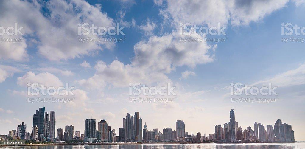 Panorama panama city skyline building sea stock photo