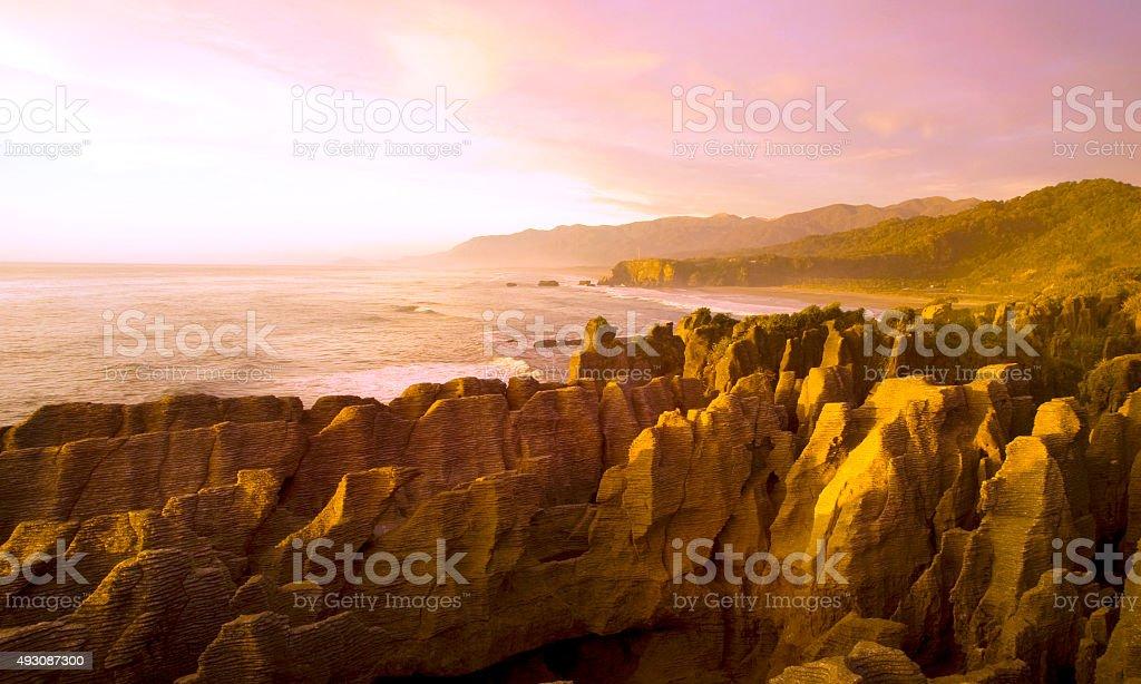 Panorama pancake rocks scenic view mountains Concept stock photo