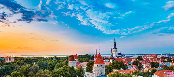 Panorama Panoramic Scenic View Landscape Old City Town Tallinn I stock photo