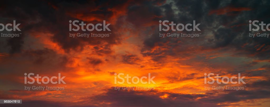 Panorama photo for Red and golden sky between sunset stock photo
