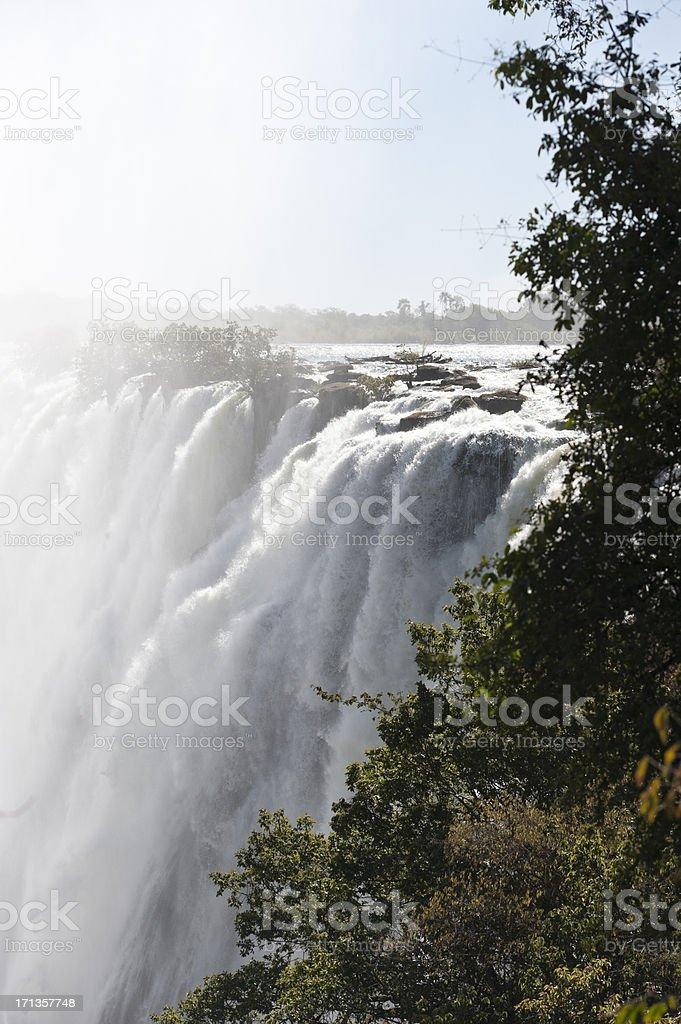 panorama photo of the zambezi river, victoria falls stock photo