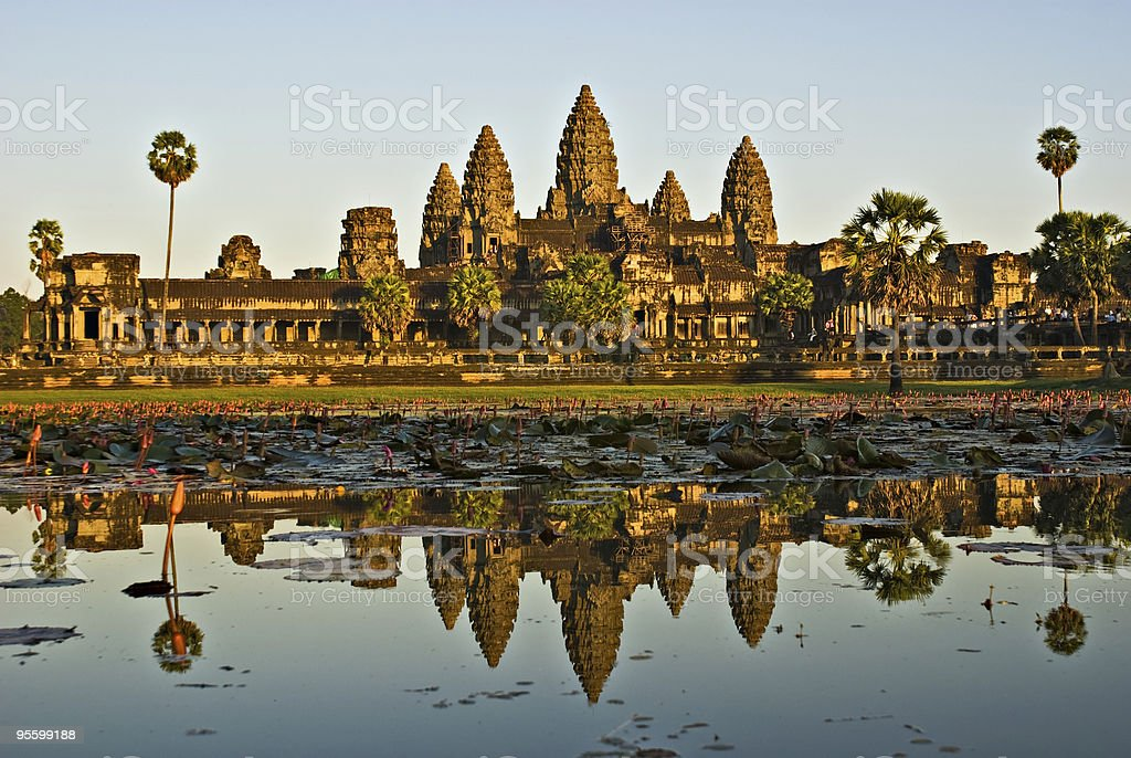 Panorama picture of Angkor Wat with the water reflecting stock photo