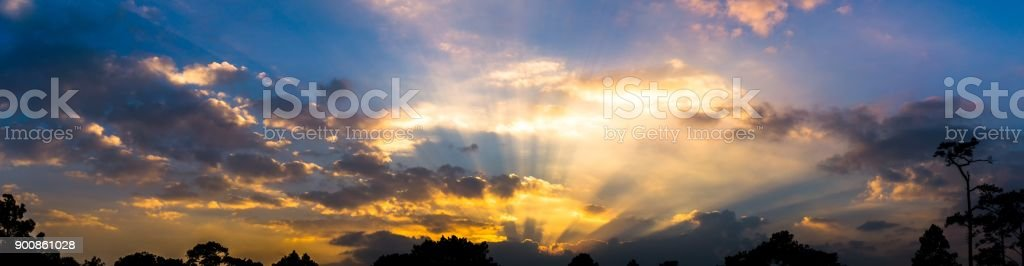 Panorama picture of sky twilight colorful cloudy and sliver lining, stock photo