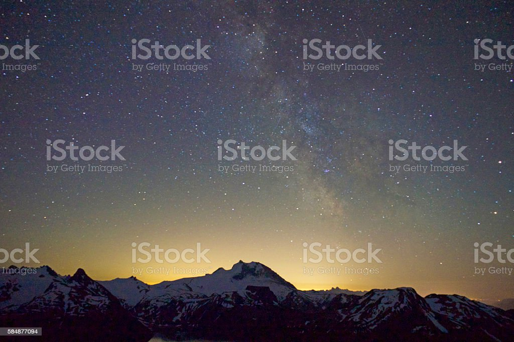 Panorama Ridge and night stock photo
