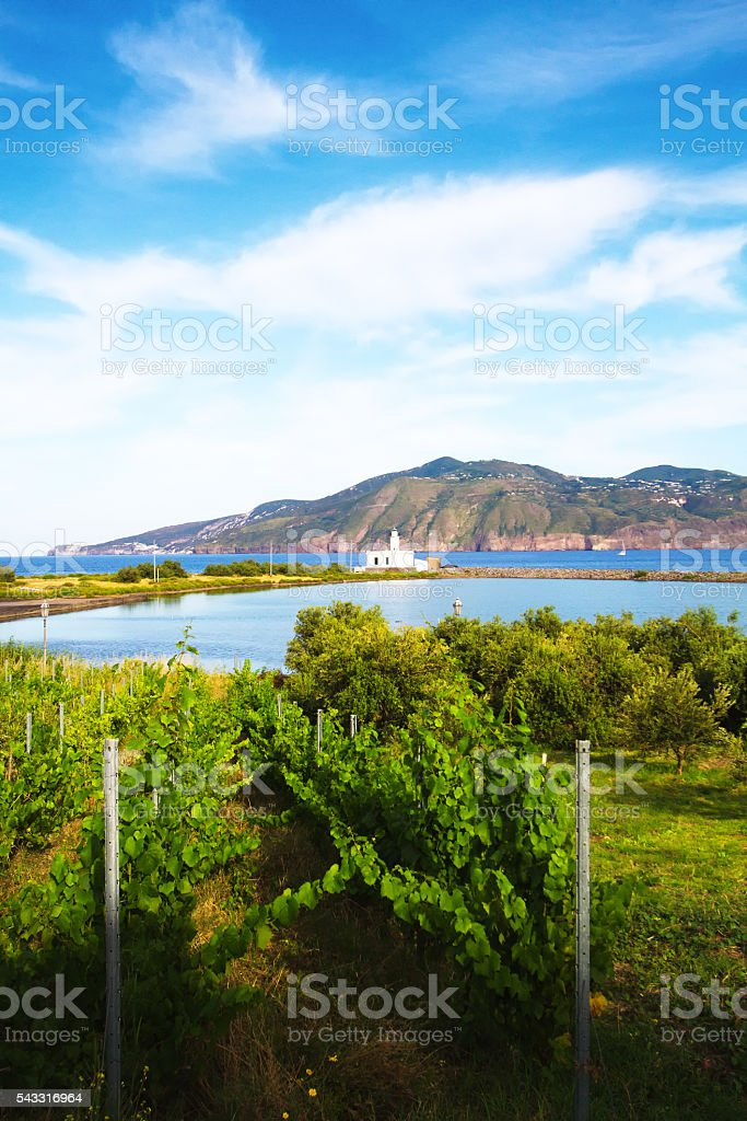 Panorama Salina, Aeolian Islands, Sicily: Old White Lighthouse stock photo