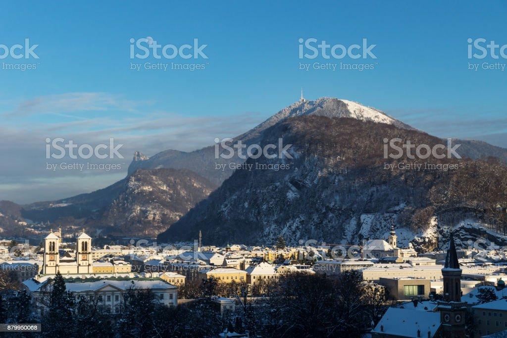 Panorama Salzburg with view on Gaisberg in winter, Austria stock photo