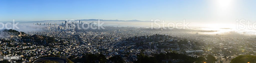 Panorama san francisco from twin peaks stock photo