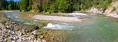 panorama scene in Bavaria with river Ammer in canyon