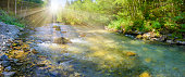 panorama scene in Bavaria with river Loisach in canyon and sunbeams