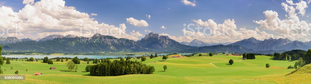 panorama scenic landscape in Bavaria with lake and mountains stock photo