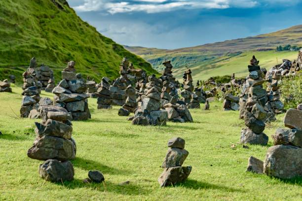 panorama Scotland UK Fairy Fairy Glen Green Valley of Skye Island in Scotland England isle of skye stock pictures, royalty-free photos & images