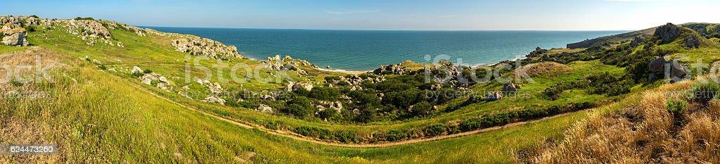 Panorama Sea of Azov at Karalar regional landscape park in stock photo