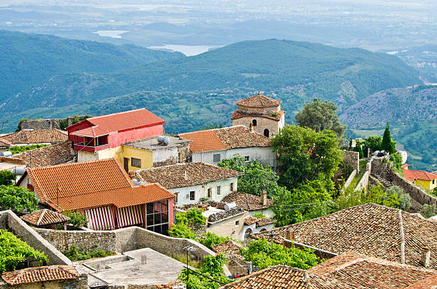 Panorama shot of houses and mountains in Kruje, Albania stock photo