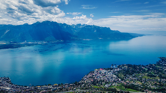 A panorama shot of Lake Geneva with Montreux and Clarens