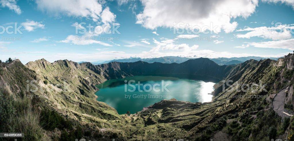 panorama shot of quilotoa loop stock photo