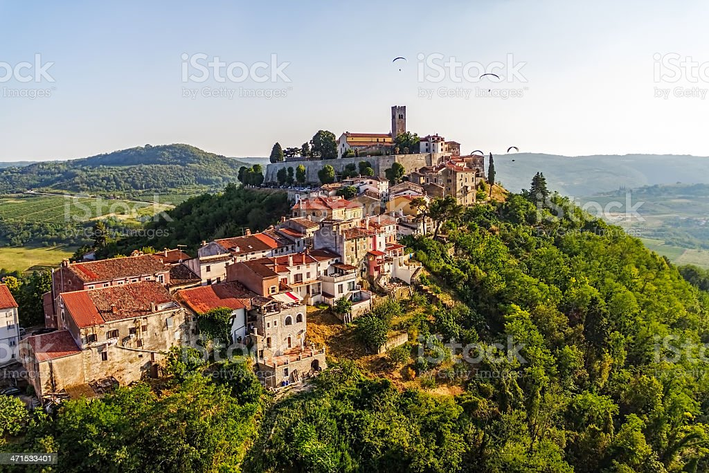 Panorama shot of the village of Motovun, Croatia royalty-free stock photo