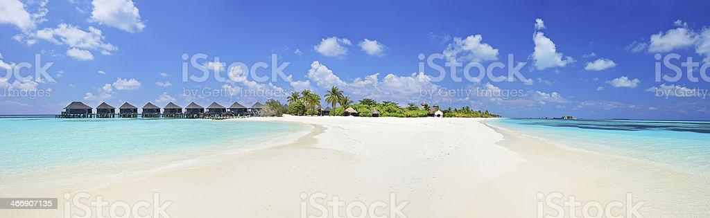 Panorama shot of tropical island, Maldives on a sunny day stock photo
