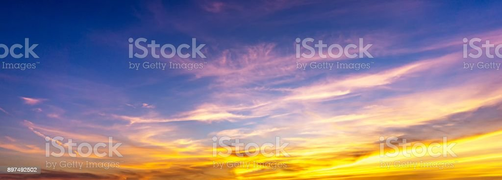 Panorama sky and colorful cloud with sunlight at twilight time stock photo