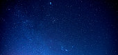 istock Panorama Sky and Stars, Long exposure photograph, with grain and select white balance.Night sky. 1178734806