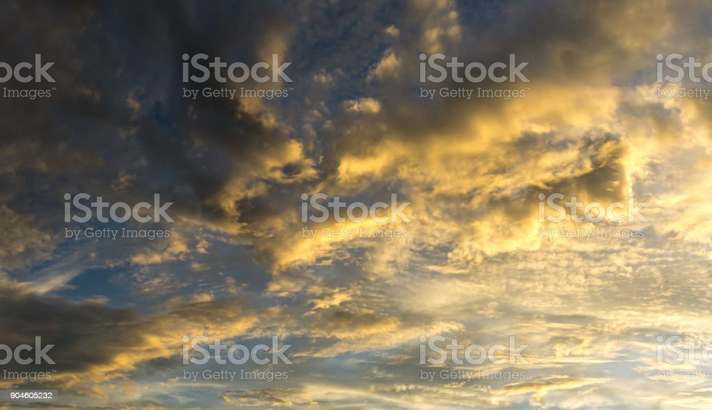 Panorama sky full with  fluffy clouds and sunlight stock photo