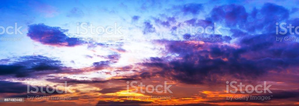 Panorama sky twilight, colorful cloud, and sun light stock photo