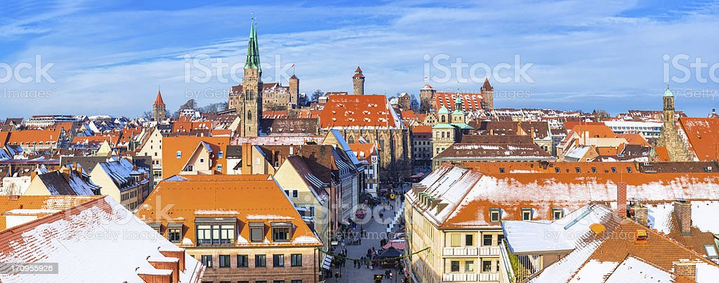 Panorama skyline of Nuremberg in the winter stock photo