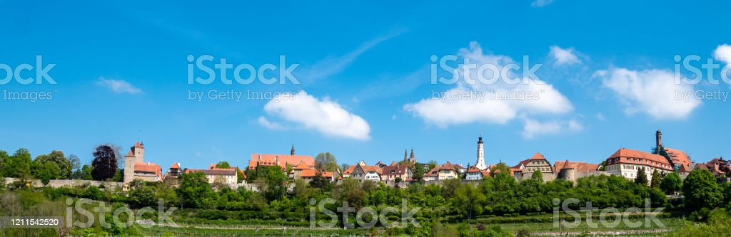 Panorama skyline Rothenburg ob der Tauber Beieren Duitsland - Royalty-free Antiek - Toestand Stockfoto