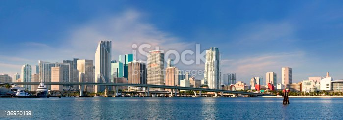 istock Panorama skyline view of downtown buildings in Miami Florida 136920169