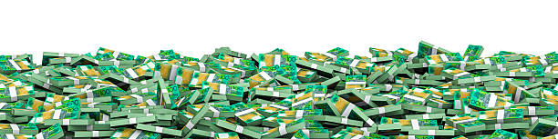 Panorama stacks Australian dollars stock photo