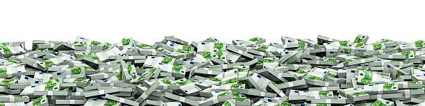 Panorama stacks euros stock photo