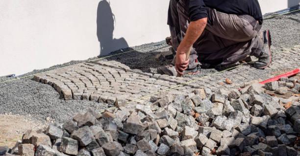 Panorama stone setters, path construction, paving stones