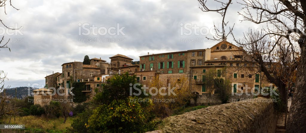 Panorama Street and architecture in Valdemossa, Mallorca side view. Spain stock photo