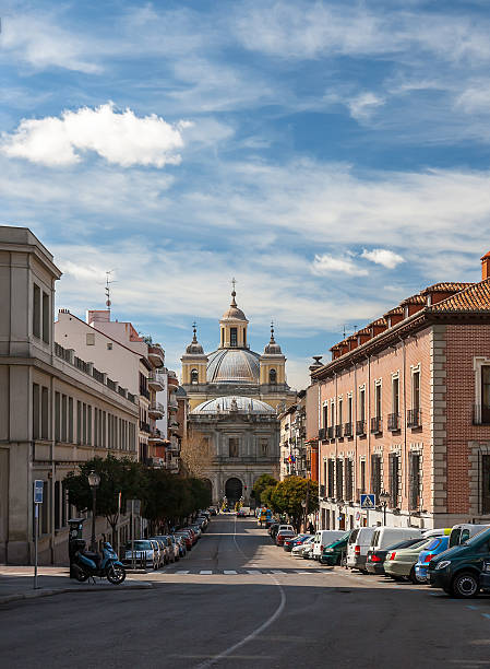 Panorama streets in Madrid with the cathedral in perspective.