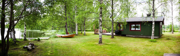 Panorama - summer, forest, Sunny day, house, lake and boat Panorama - summer, forest, Sunny day, house, lake and boat russian dacha stock pictures, royalty-free photos & images