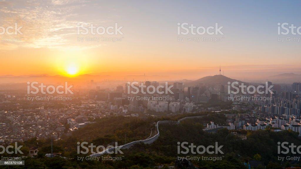 Panorama  Sunrise of Seoul City Skyline , South Korea stock photo