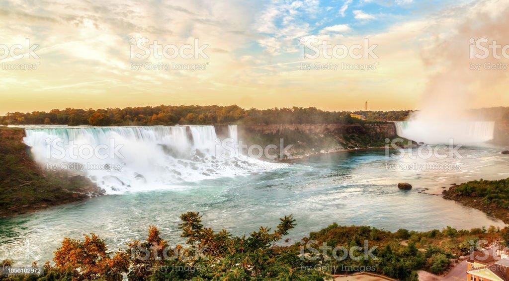 Panorama Sunrise Over Niagara Falls At Us And Canada Border