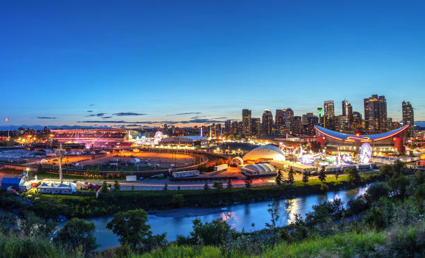 Panorama Sunset Blue Hour Over Calgary Stampede City Skyline stock photo
