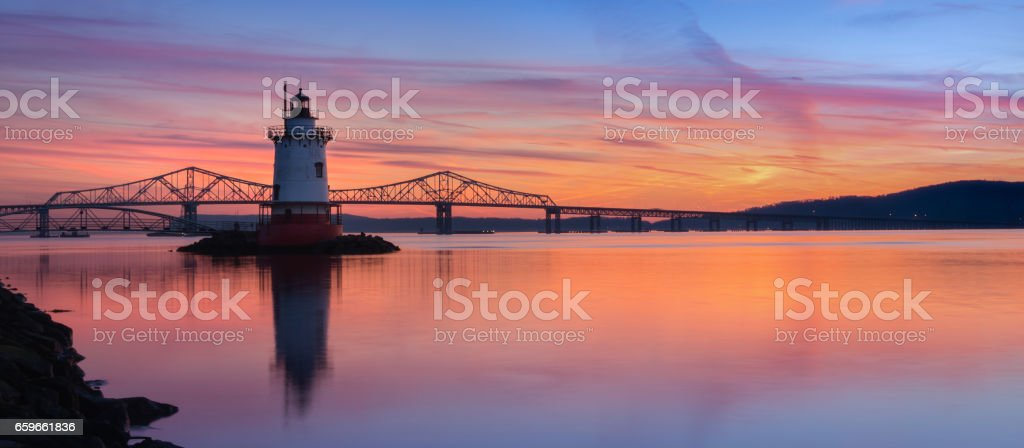 Panorama sunset of Tappan Zee Bridge and the Lighthouse stock photo