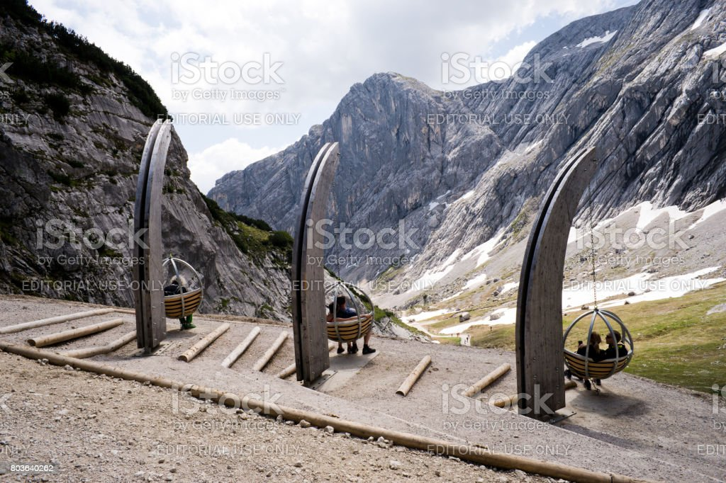 Panorama swings at Wetterstein mountains in bavarian alps stock photo