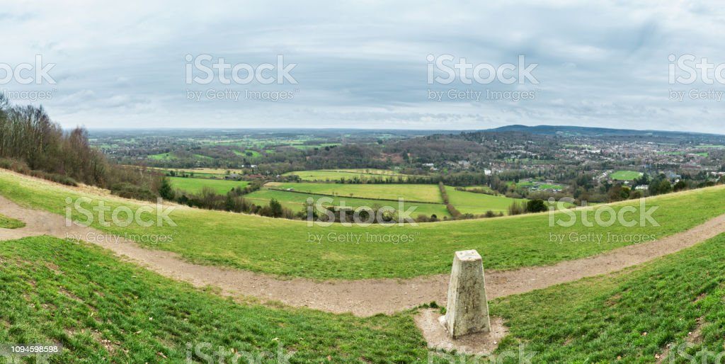 Panorama taken from Box Hill in the Surrey Hills, England, UK stock photo