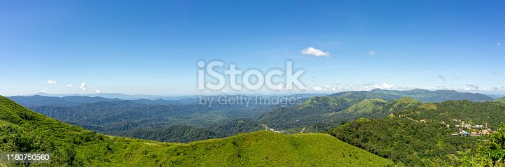 Panorama, The scenery on the afternoon viewpoint. Mountains complex, Clear blue sky. Pilok Mine Viewpoint, Kanchanaburi, Thailand