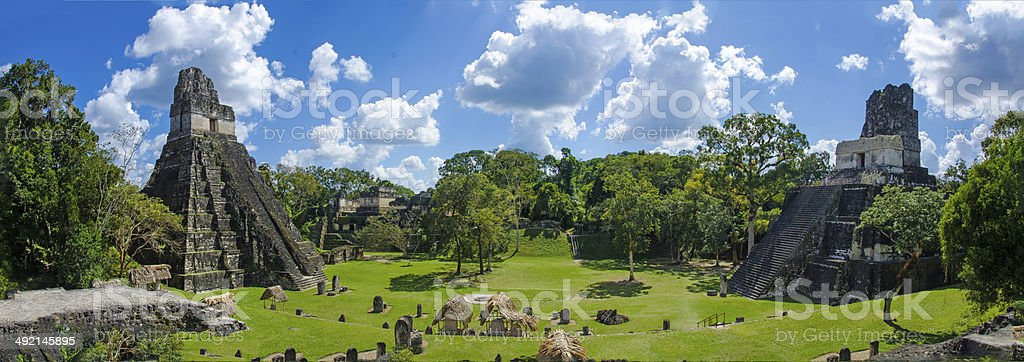 Panorama Tikal  Ruins and pyramids stock photo