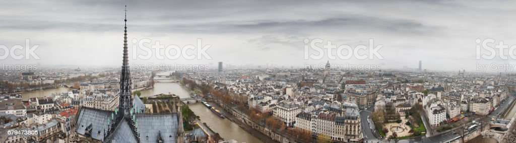 Panorama to Seine, Ile de la Cite and Latin Quarter 免版稅 stock photo