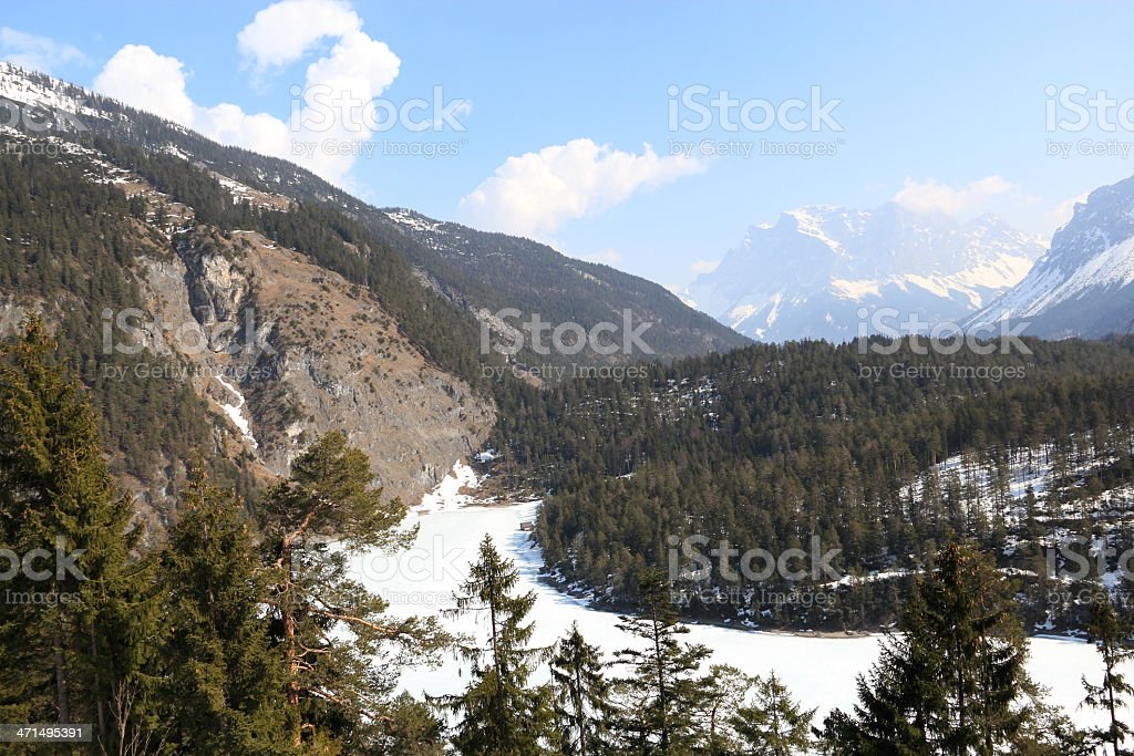 Panorama to the Zugspitze royalty-free stock photo