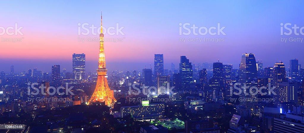 panorama tokyos skyline at twilight stock photo