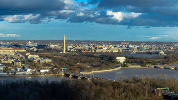 Panorama Top view scene of Washington DC down town which can see United states Capitol, washington monument, lincoln memorial and thomas jefferson memorial, history and culture for travel concept