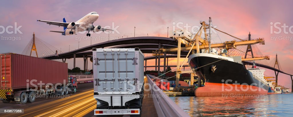 Panorama transport and logistic concept by truck boat plane for logistic Import export background royalty-free stock photo