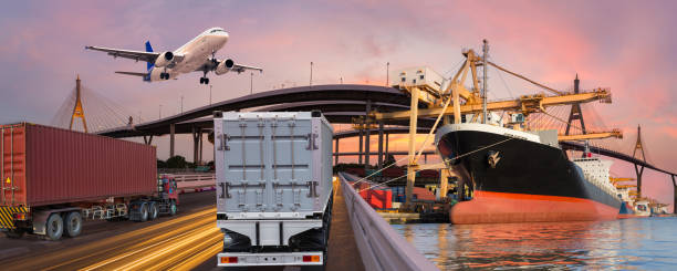 Panorama transport and logistic concept by truck boat plane for logistic Import export background stock photo