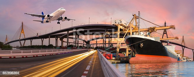 istock Panorama transport and logistic concept 652896354